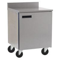Delfield 403 27 inch ADA Height Single Door Worktop Freezer with 3 inch Casters