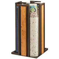 Cal-Mil 3904-84 Sierra Bronze Metal and Reclaimed Wood Revolving Cup and Lid Organizer - 9 1/4 x 9 1/4 x 18 inch