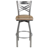 Lancaster Table & Seating Cross Back Bar Height Clear Coat Swivel Chair with Driftwood Seat