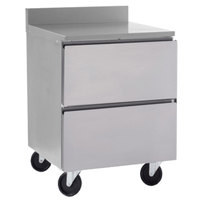 Delfield GUR27BP-D 27 inch ADA Height Worktop Refrigerator with Two Drawers and 3 inch Casters