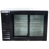 Beverage-Air BB48HC-1-GS-B-ALT 48 inch Black Sliding Glass Door Back Bar Refrigerator with Left Side Compressor