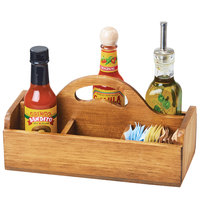 Cal-Mil 3691-99 Madera 10 1/4 inch x 5 inch x 5 1/2 inch 6 Section Rustic Pine Condiment Caddy with Handle