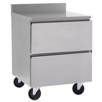 Delfield GUR32BP-D 32 inch ADA Height Worktop Refrigerator with Two Drawers and 3 inch Casters
