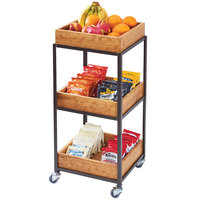 Cal-Mil 3921-84 Sierra Bronze Metal and Rustic Pine 3-Tier Merchandiser Cart with Removable Bins - 14 3/4 inch x 14 3/4 inch x 35 inch