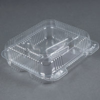 Durable Packaging PXT-833 Duralock 8 inch x 8 inch x 3 inch Three Compartment Clear Hinged Lid Plastic Container - 250/Case