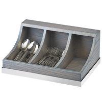 Cal-Mil 3802-83 Ashwood 3 Section Gray Oak Wood Flatware Organizer - 13 3/4 inch x 10 inch x 6 inch