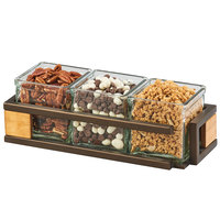 Cal-Mil 3910-3-84 Sierra Bronze Metal and Reclaimed Wood Organizer with 3 Square Glass Jars - 13 inch x 5 inch x 4 1/4 inch
