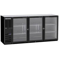 Beverage-Air BB72HC-1-G-B-ALT 72 inch Black Glass Door Back Bar Refrigerator with Left Side Compressor