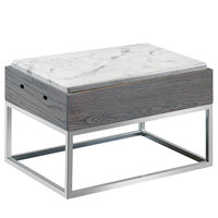 Cal-Mil 3822-9-83 Ashwood Gray Oak Wood Riser with Melamine Marble Tray - 15 inch x 11 inch x 9 1/4 inch