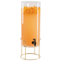 Cal-Mil 22005-3-46 Mid Century 3 Gallon Round Beverage Dispenser with Ice Chamber and Brass Wire Base