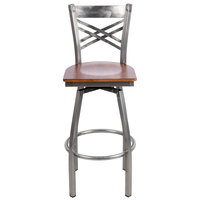 Lancaster Table & Seating Cross Back Bar Height Clear Coat Swivel Chair with Antique Walnut Seat