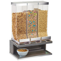 Cal-Mil 3823-83 Ashwood 3 Compartment Gray Oak Wood Cereal Dispenser - 17 1/2 inch x 9 1/2 inch x 24 inch