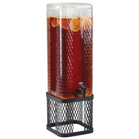 Cal-Mil 22001-3-13 Black Diamond 3 Gallon Beverage Dispenser with Ice Chamber and Black Metal Mesh Base