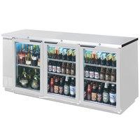 Beverage-Air BB72HC-1-G-S-ALT 72 inch Stainless Steel Glass Door Back Bar Refrigerator with Left Side Compressor