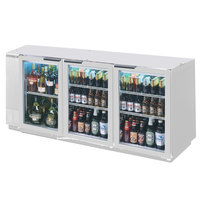 Beverage-Air BB72HC-1-G-S-ALT 72 inch Stainless Steel Glass Door Back Bar Refrigerator with Left Side Compressor