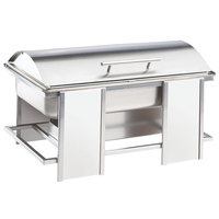 Cal-Mil 1473-15 Eco Modern 9 Qt. White Bamboo Stainless Steel Chafer with Lift Top Lid
