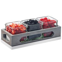 Cal-Mil 3806-83 Ashwood Gray Oak Wood Organizer with 3 Square Glass Jars - 12 3/4 inch x 5 inch x 4 1/2 inch