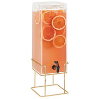 Cal-Mil 22002-3-46 Mid Century 3 Gallon Square Beverage Dispenser with Ice Chamber and Brass Wire Base