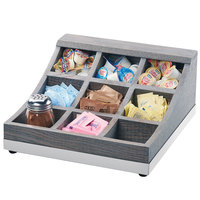 Cal-Mil 3801-83 Ashwood 9 Compartment Gray Oak Wood Condiment Organizer - 13 inch x 13 1/2 inch x 6 1/4 inch