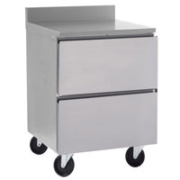 Delfield GUR24BP-D 24 inch ADA Height Worktop Refrigerator with Two Drawers and 3 inch Casters