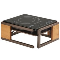 Cal-Mil 3922-84 Sierra Bronze Metal and Rustic Pine Countertop Induction Cooker - 120V, 1600W