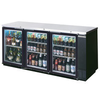 Beverage-Air BB78HC-1-G-B-ALT 79 inch Black Glass Door Back Bar Refrigerator with Stainless Steel Top and Right Side Compressor