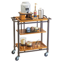 Cal-Mil 3913-84 Sierra Bronze Metal and Reclaimed Wood 3 Shelf Beverage Cart - 36 inch x 17 1/2 inch x 39 inch