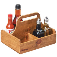 Cal-Mil 3692-99 Madera 9 3/4 inch x 8 inch x 7 1/2 inch 4 Section Reclaimed Wood Condiment Caddy with Handle