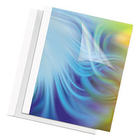 Fellowes 52222 8 1/2 inch x 11 inch Clear / White 60-Sheet Thermal Binding System Presentation Cover   - 10/Pack