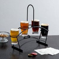 Acopa Tasting Flight Set - 4 Barbary Sampler Glasses with Black Metal Taster Caddy