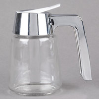 Tablecraft 1270 8 oz. Modern Glass Syrup Dispenser with Chrome Plated ABS Top