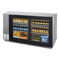 Beverage Air BB58GS-1-S-LED-WINE 58 inch Stainless Steel Pass-Through Sliding Glass Door Back Bar Wine Refrigerator