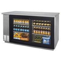 Beverage Air BB58GS-1-SS-LED-WINE 58 inch SS Back Bar Wine Series Refrigerator - 2 Sliding Glass Doors