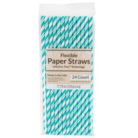Creative Converting 329632 7 3/4 inch Jumbo Teal Lagoon Paper Straws - 24/Pack
