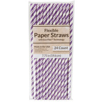 Creative Converting 329621 7 3/4 inch Jumbo Amethyst Paper Straw - 24/Pack