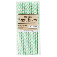 Creative Converting 324505 7 3/4 inch Jumbo Fresh Mint Paper Straws   - 24/Pack