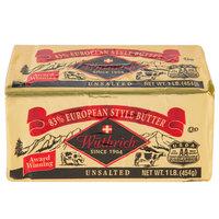 Wuthrich 1 Lb. 83% Unsalted European Butter - 36/Case
