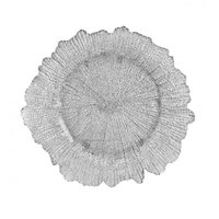 10 Strawberry Street SPS340 13 3/4 inch Sponge Silver Glass Charger Plate