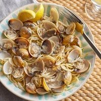 Oyster Bay 1 lb. Bag 17-22 Count Hard Shell Whole Cooked Brown Clams - 10/Case