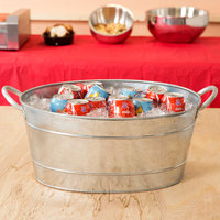 Tablecraft BT1914 Oval Galvanized Steel Beverage Tub - 19 inch x 14 inch x 9 inch