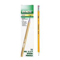 Dixon 12875 Oriole Woodcase Yellow Barrel F Lead # 2 1/2 Pencil   - 12/Pack