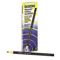 Dixon 00081 Black Thin Lead China Marker - 12/Pack