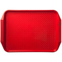 Carlisle CT121705 Customizable Cafe 12 inch x 17 inch Red Handled Plastic Fast Food Tray - 12/Case
