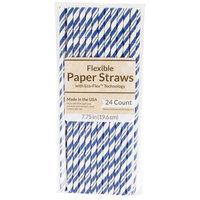 Creative Converting 324492 7 3/4 inch Jumbo Colbalt Paper Straw   - 24/Pack