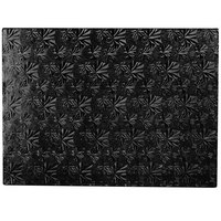 Enjay 1/2-13341834B12 18 3/4 inch x 13 3/4 inch Fold-Under 1/2 inch Thick Half Sheet Black Cake Board - 12/Case