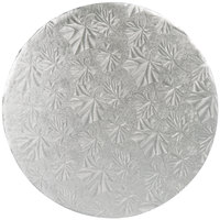 Enjay 1/4-10RS24 10 inch Fold-Under 1/4 inch Thick Silver Round Cake Drum - 24/Case