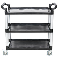 40 1/2 inch x 19 3/4 inch x 37 7/8 inch Black Three Shelf Utility Cart / Bus Cart