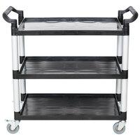 40 1/2 inch x 19 3/4 inch x 37 7/8 inch Black Three Shelf Utility Cart / Bus Cart
