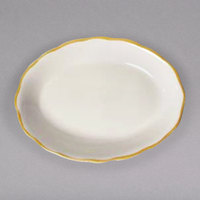 9 5/8 inch x 7 1/8 inch Ivory (American White) Scalloped Edge China Platter with Gold Band - 24/Case