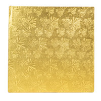 Enjay 1/2-12SG12 12 inch Fold-Under 1/2 inch Thick Gold Square Cake Drum - 12/Case